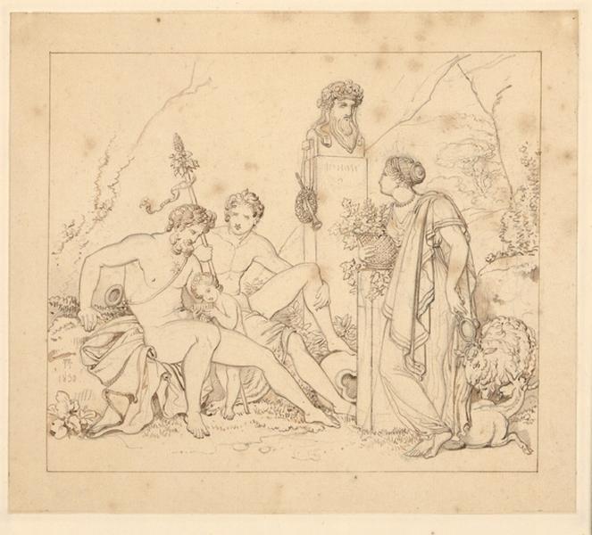 Faunes près du refuge de Pan ; Scène mythologique ; Etude antique_0