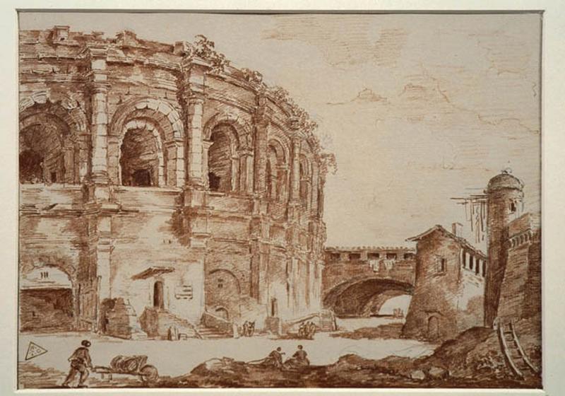 TURPIN DE CRISSE Lancelot Henri Roland, TURPIN DE CRISSE Père (dessinateur) : Les arènes de Nîmes, Vue d'Italie (arènes) (autre titre)
