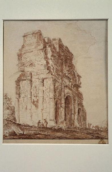 L'arc de triomphe à Orange ; Vue d'Italie (arc de triomphe)_0