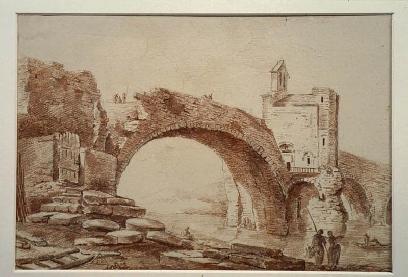TURPIN DE CRISSE Lancelot Henri Roland, TURPIN DE CRISSE Père : Le pont Saint-Bénézet, à Avignon, Vue d'Italie (vieux pont) (Avignon ?)