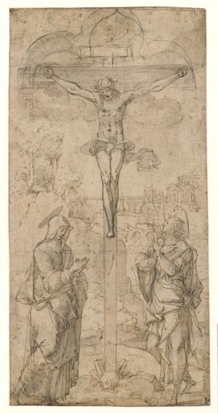 COUSIN Jean le Père (?), COUSIN Jean le Fils (?) : Projet de vitrail avec une crucifixion, La Crucifixion, Christ en croix entre la Sainte Vierge et saint Jean (autre titre)