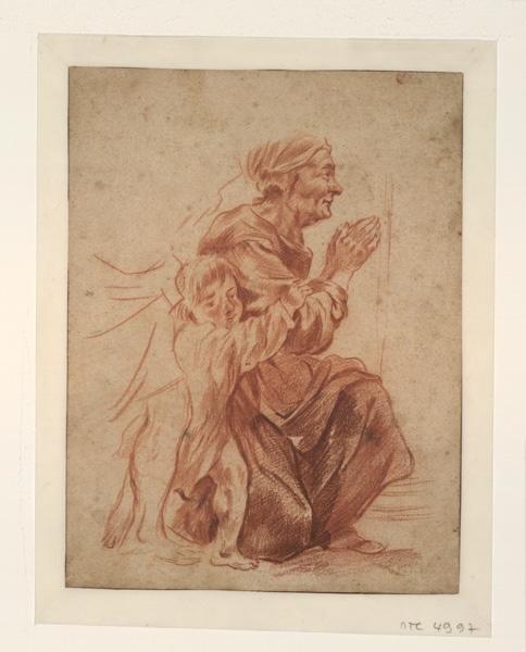 Etude d'une vieille femme et d'un enfant ; Vieille femme à genoux (autre titre)