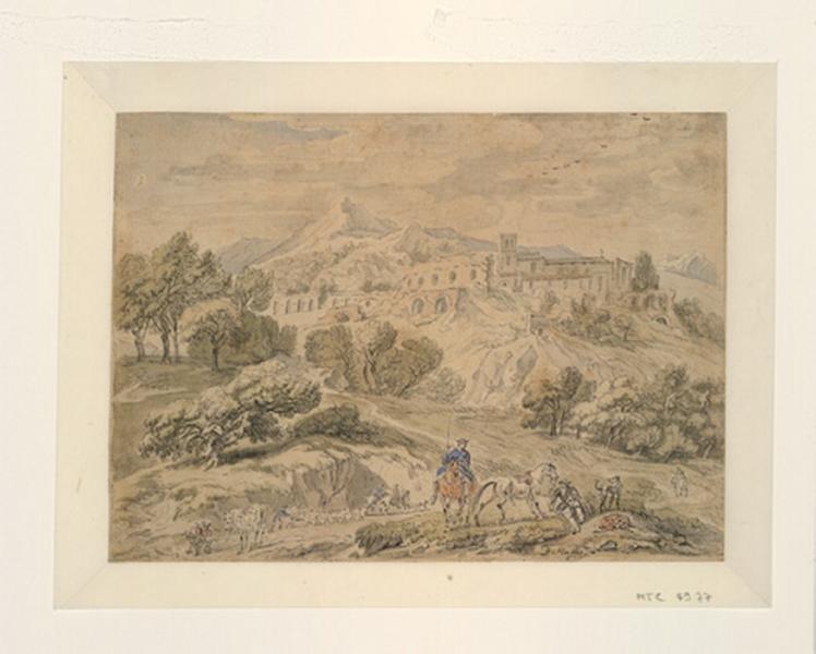 MAAS Dirk (dessinateur) : Paysage montagneux avec des cavaliers