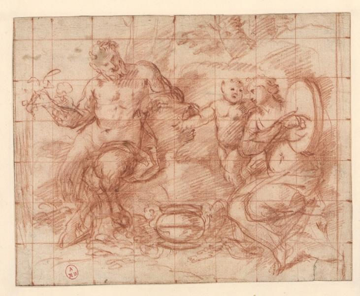 Sujet bachique à trois figures ; L'éducation de Bacchus ; Education de l'amour