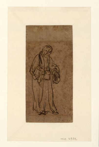 REMBRANDT (dit), REMBRANDT Harmensz van Rijn (dessinateur) : Etude d'homme : Joseph racontant ses songes (?), Homme debout, Joseph racontant ses songes