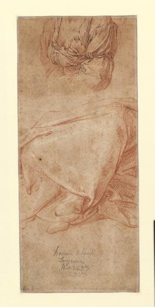 Homme debout, le dos drapé dans un large manteau