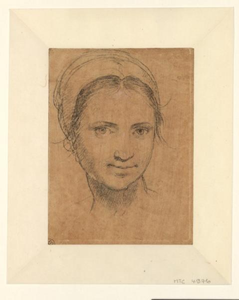 anonyme (dessinateur) : Tête de jeune femme coiffée d'un bonnet