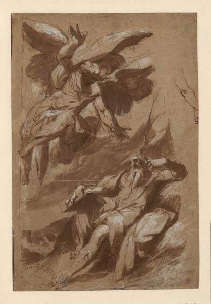 SPEECKAERT Hans (?, dessinateur), anonyme (?, dessinateur) : Saint Matthieu et l'Ange, Le prophète Habacuc (?, autre titre), Prophète interpellé par un ange (autre titre)