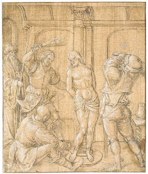 anonyme, POURBUS Peeter Jansz (d'après) : La flagellation du Christ, Christ à la colonne (ancienne attribution (Recouvreur))