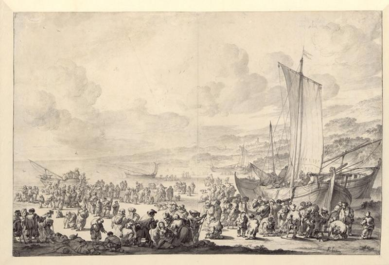 Le Christ entouré d'une grande foule prêchant au bord d'un lac_0