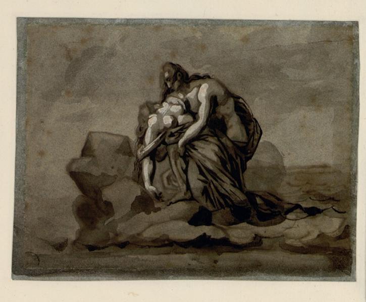 Jeune homme retenant dans ses bras une femme qu'il vient de retirer des flots Paul et Virginie (?) ; Paul et Virginie