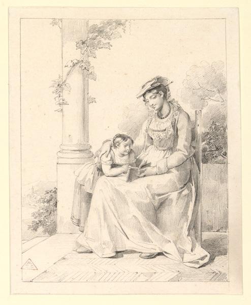 LESCOT Antoinette Cécile Hortense (née), HAUDEBOURT Antoinette Cécile Hortense, LESCOT (dite, ?) (dessinateur) : La leçon de lecture