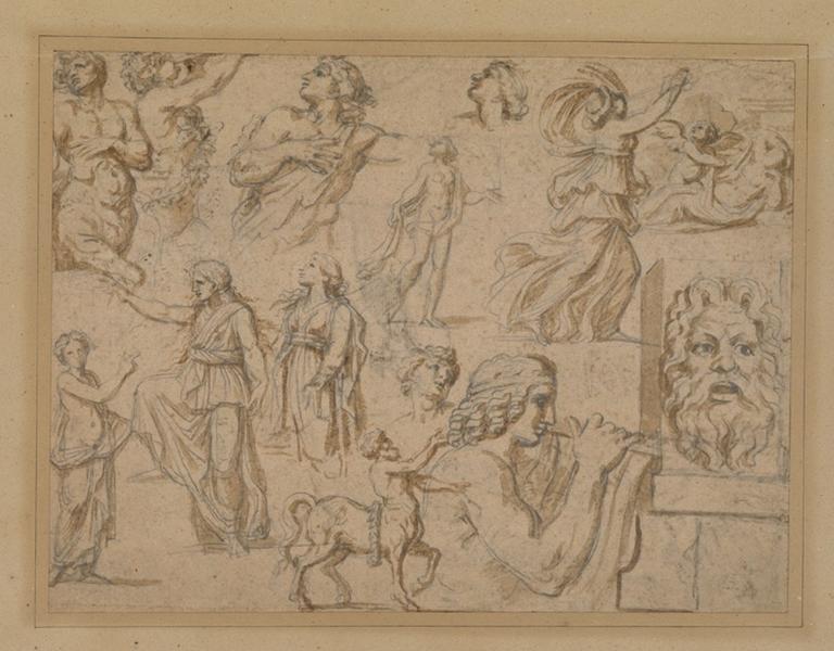 anonyme (dessinateur) : Diverses figures, Une page d'études, double face, Etudes sur les deux faces