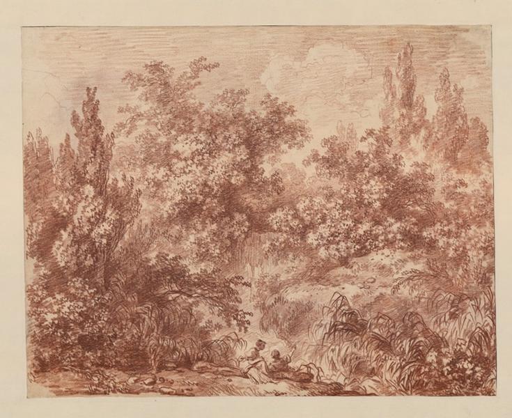 Paysage italien avec deux promeneurs (recto) ; Etude d'un jeune garçon (verso)_0