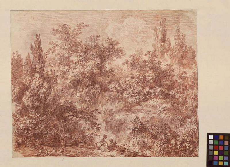 FRAGONARD Jean-Honoré (dessinateur, peintre) : Paysage italien avec deux promeneurs (recto), Etude d'un jeune garçon (verso)