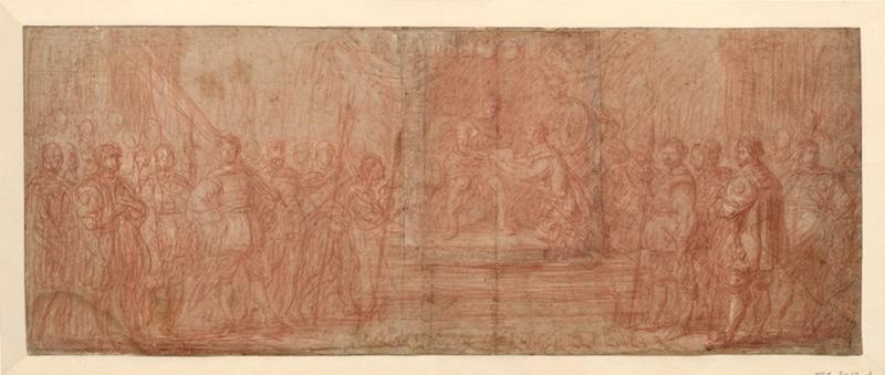 VOS Cornelis de (dessinateur) : Charles V présentant un document à Hendrik van Halmale, Scène d'hommage à un prince, Charles Quint reçoit un hommage agenouillé (titre emprunté au cahier d'inventaire)
