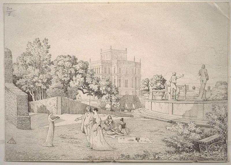 ALIGNY Claude Félix Théodor (patronyme), CARUELLE D'ALIGNY (dit) : Collation dans le parc d'un château ou villa, Villa (autre titre)