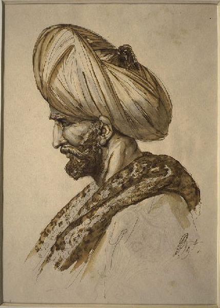BERGERET Pierre Nolasque (dessinateur, peintre) : Etude pour la tête de Mahomet II, Portrait du docteur Hunault de la Peltrie (autre titre)