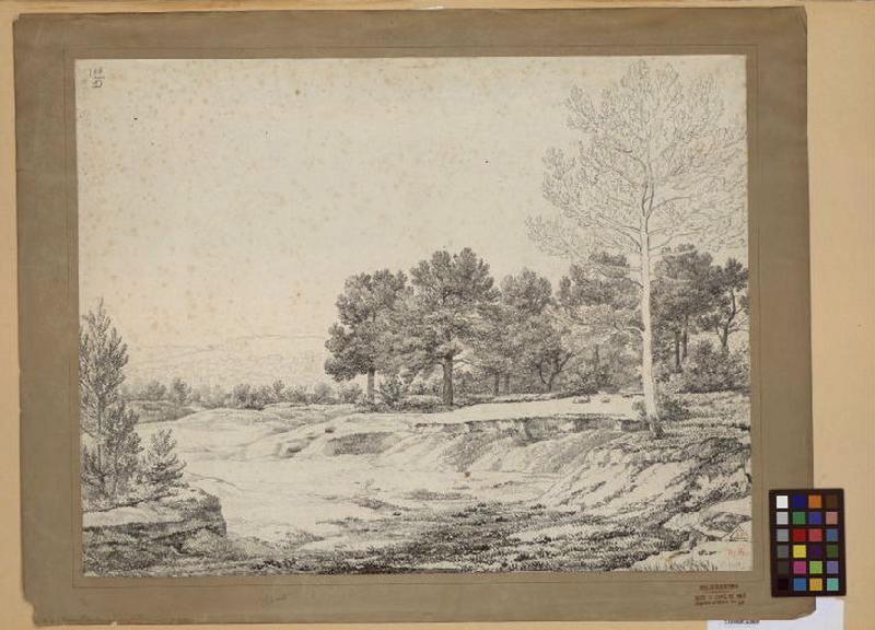 BIDAULD Jean Joseph Xavier (dessinateur, peintre) : Paysage d'Italie
