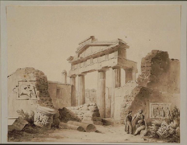BLOUET Guillaume Abel (dessinateur, peintre) : Vue prise à Athènes