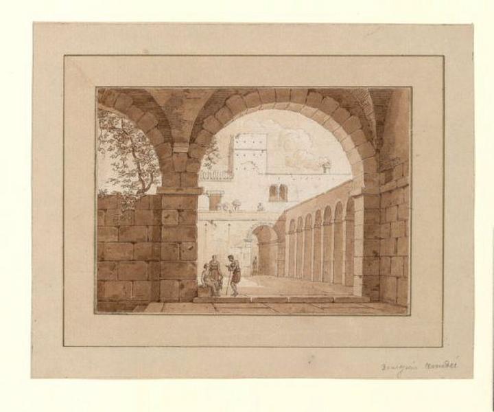 Intérieur de la cour du théâtre Argentina à Rome ; Intérieur d'une cour à Rome (autre titre) ; Cour intérieure d'une habitation italienne (autre titre)_0