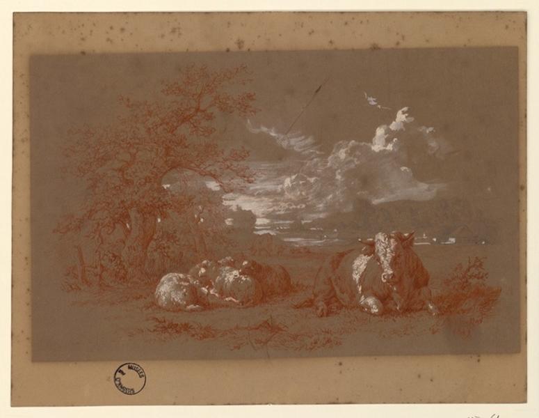 BRASCASSAT Jacques Raymond (dessinateur, peintre) : Paysage avec taureau et moutons