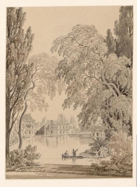 CASTELLAN Antoine Laurent (dessinateur) : Vue du Palais de Fontainebleau
