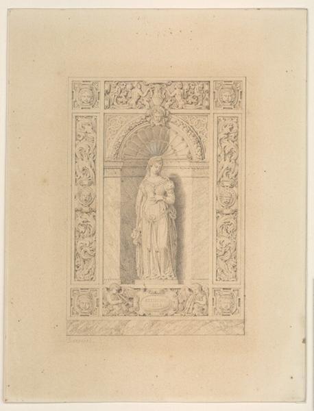 CHENAVARD Claude Aimé (dessinateur, peintre) : Composition décorative dans le style du XVIème siècle