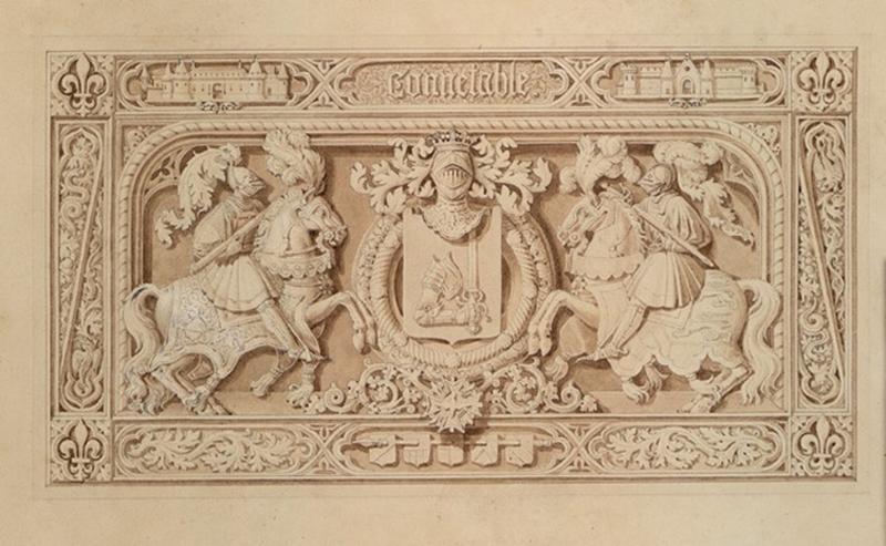 CHENAVARD Claude Aimé (dessinateur, peintre) : Panneau décoratif : deux chevaliers armés