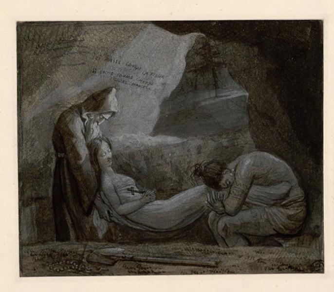 Etude pour les funérailles d'Atala ; Atala au tombeau (titre de Recouvreur)