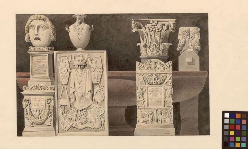 LECLERE Achille François René (dessinateur, architecte) : Fragments antiques