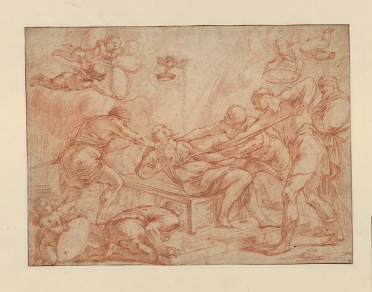 MELIN Pierre (dessinateur), VOUET Simon (dessinateur) : Une Martyre, Le martyre d'une sainte sur un grill, Le martyre de sainte Foy