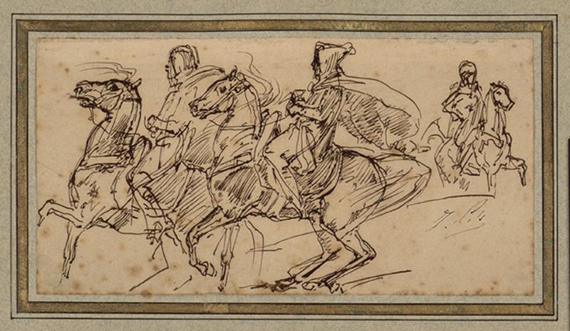 PILS Isidore Alexandre Augustin (dessinateur) : Cavaliers arabes caracolant