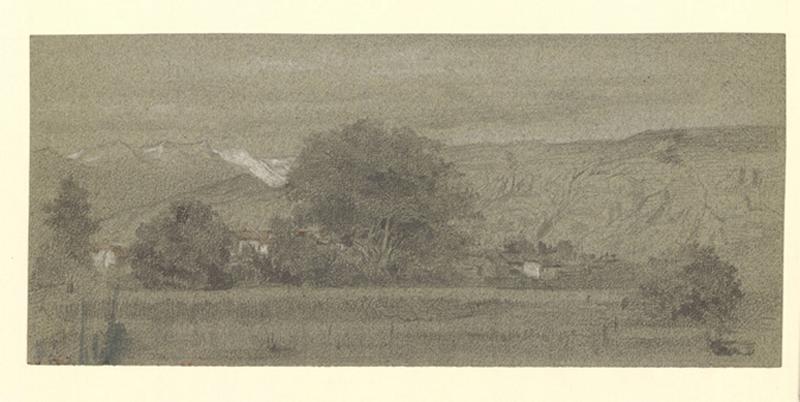NANTEUIL-LEBOEUF Paul Célestin Louis, NANTEUIL Paul (dit) : Village derrière un rideau d'arbres