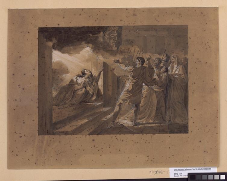 Une Reine s'affaissant sur le seuil d'un palais embrasé 1822_0
