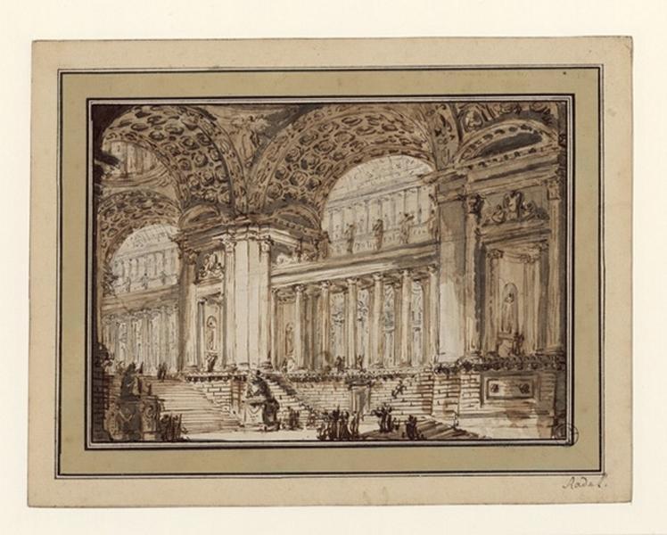 Intérieur d'un temple avec une galerie à arcades (av.1767) ; Radel à Paris (av.1767)