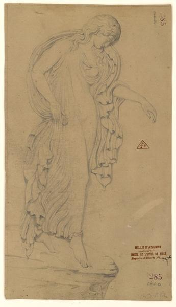 SAINT-POL Christian de (dessinateur) : Figure de femme drapée