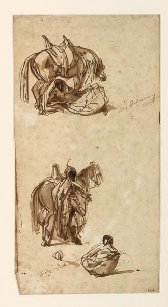 Arabe couché ; A l'ombre de son cheval ; Une rencontre (autre titre)