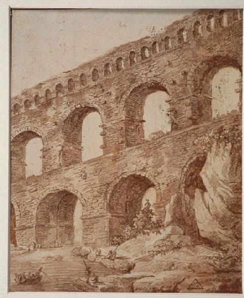 Le pont du Gard ; Paysage - Ruines d'Italie ; viaduc (Le Pont du Gard ?)