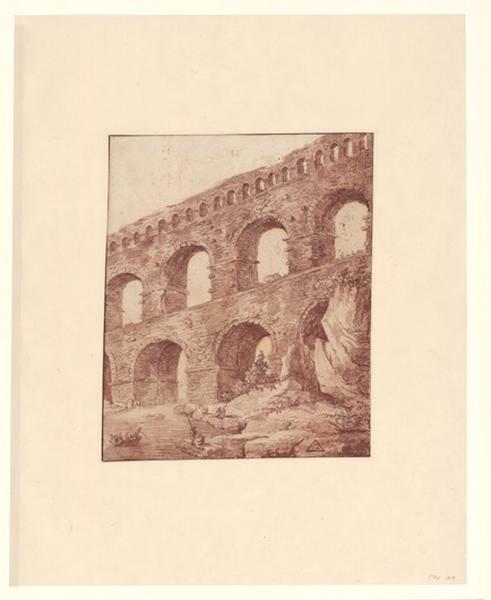 Le pont du Gard ; Paysage - Ruines d'Italie ; viaduc (Le Pont du Gard ?)_0