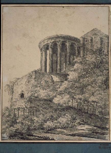 Le temple de la Sibylle à Tivoli ; Paysage - Ruines d'Italie ; Vue du Temple de Vesta à Tivoli