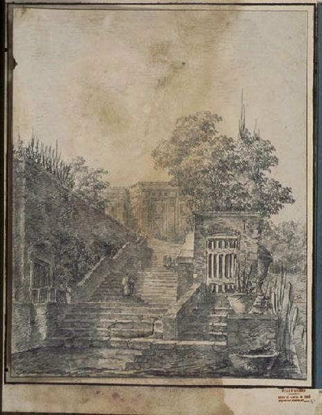 TURPIN DE CRISSE Lancelot Henri Roland, TURPIN DE CRISSE Père (?, dessinateur), TURPIN DE CRISSE Lancelot Théodore Comte de (?, dessinateur) : Escalier dans le jardin d'une villa, Paysage - Ruines d'Italie