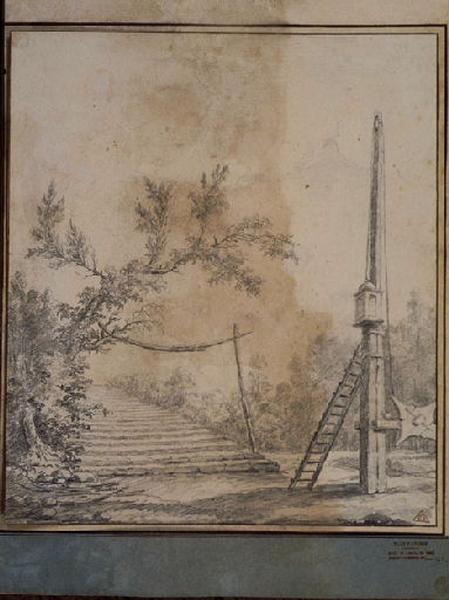 TURPIN DE CRISSE Lancelot Henri Roland, TURPIN DE CRISSE Père (?, dessinateur), TURPIN DE CRISSE Lancelot Théodore Comte de (?, dessinateur) : Un fanal et un grand escalier, Paysage - Ruines d'Italie