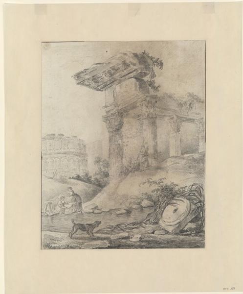 Vue sur le Colisée avec des Lavandières au premier plan ; Paysage - Ruines d'Italie