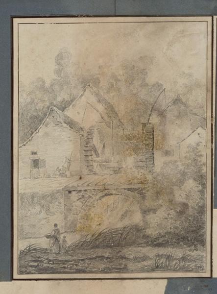 TURPIN DE CRISSE Lancelot Henri Roland, TURPIN DE CRISSE Père (dessinateur), ROBERT Hubert (d'après) : Le moulin de Roconval aux environs de Paris