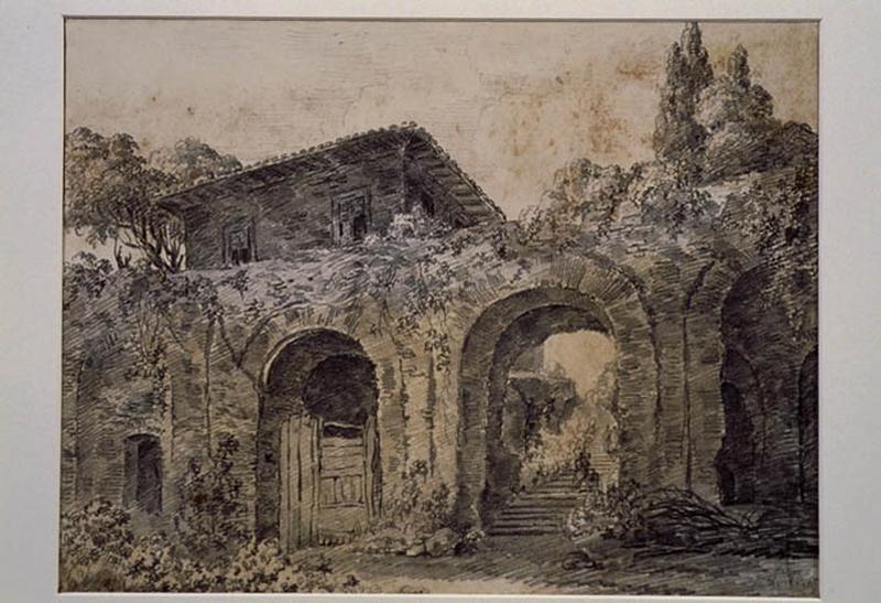 TURPIN DE CRISSE Lancelot Henri Roland, TURPIN DE CRISSE Père (?, dessinateur), TURPIN DE CRISSE Lancelot Théodore Comte de (?, dessinateur) : Ruines d'un aqueduc et une fabrique italienne, Paysage - Ruines d'Italie