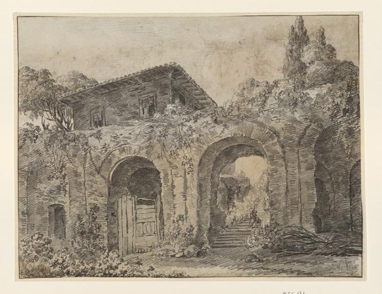 Ruines d'un aqueduc et une fabrique italienne ; Paysage - Ruines d'Italie_0
