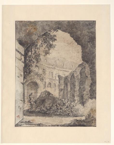 TURPIN DE CRISSE Lancelot Henri Roland, TURPIN DE CRISSE Père (?, dessinateur), TURPIN DE CRISSE Lancelot Théodore Comte de (?, dessinateur) : L'intérieur du Colisée, Paysage - Ruines d'Italie