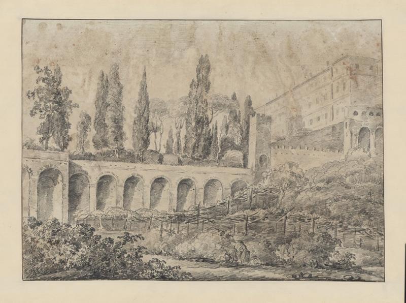 La villa d'Este à Tivoli ; Paysage - Ruines d'Italie ; Vue du Palais Farnèse ; Jardin et villa_0
