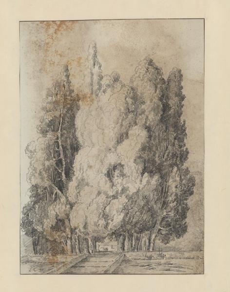 Les cyprès de la villa d'Este à Tivoli ; Paysage - Ruines d'Italie ; Vue de la villa d'Este à Tivoli_0